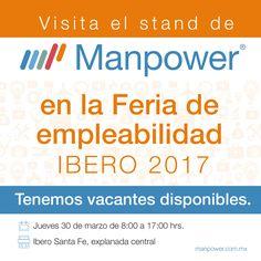 Visita nuestro stand en la feria de empleabilidad y conoce nuestras vacantes. #Manpower #Empleo #Yatengotrabajo #talento #feriasdeempleo #oportunidades