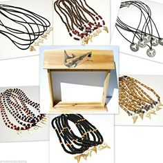 144 Pcs Shark Tooth Cowrie Shell Necklaces Asst Bracelets & Wood Counter Display stores.ebay.com/Grass-Shack-Trading