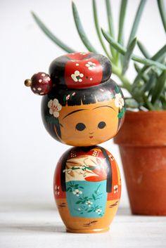 vintage decorative kokeshi doll // bobblehead by wretchedshekels, $38.00