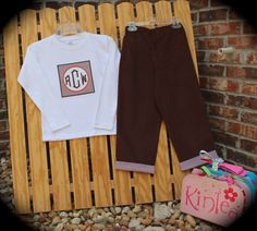 FALL BOY'S OUTFIT...Boy's Appliqued Shirt with Initials Brown Corduroy Pants with Gingham Cuff ..Great for Fall on Etsy, $38.50