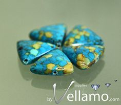 Triangle shaped mosaic stone turquoise beads by byvellamosupplies, $4.50