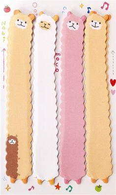 long llama alpaca bookmark stickers Post-it