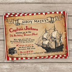 Items similar to Pirate Birthday Invitation - DIY Printable or Printed Pirate Invitation - Pirate invitation on Etsy Pirate Birthday Invitations, Digital Invitations, Custom Invitations, Wedding Invitations, Diy Birthday, Pirates, Party Supplies, Baby Announcements, White Paper