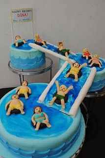 . swimming party cake