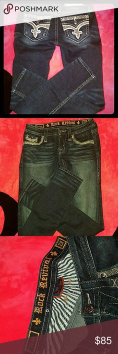 ROCK REVIVAL 25 SKINNY ISAIAH  HARD TO FIND  25 SKINNY WITH 30 INSEAM  NO FLAP BLING BACK POCKETS  SUPER CUTE JUST HAVE TOO MANY   NO TRADES PLEASE I'M JUST ELIMINATING AT THIS TIME Rock Revival Pants Skinny