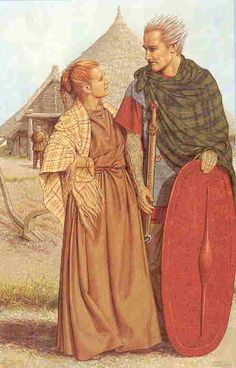 The Celts wore brightly coloured clothes dyed with natural vegetable dyes (plants and berries) The clothes were woven by hand on a vertical loom and then the wool cloth material would be sewn together using a bone or metal needle and wool thread.