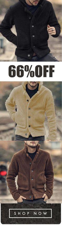 71bedfda96e Mens Plush Coat Stylish Warm Fur Collar Side Pockets Short Jacket