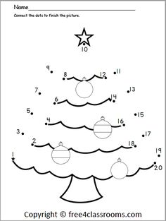 Free Christmas numbers dot to dot – kindergarden Christmas Puzzle, Christmas Alphabet, Christmas Math, Preschool Christmas, Christmas Activities, Christmas Tree, Free Printable Christmas Worksheets, Christmas Worksheets Kindergarten, Kindergarten Colors