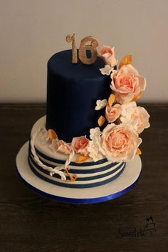Nautical sweet 16 - Cake by The Sweetest Thing - CakesDecor Sweet 16 Party Decorations, Sweet 16 Centerpieces, Sweet 16 Themes, Sweet 16 Food Ideas, 16th Birthday Cake For Girls, Sweet 16 Birthday Cake, Birthday Cake Toppers, Girl Birthday, Sweet Sixteen Cakes