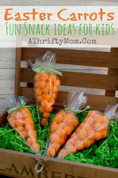Easter Carrots, Cheeto or Cheese Puffs carrots for Easter. Easy snack ideas for kids, all you need is Cheese Puffs, Ribbon and a Frosting bag #Easter, #Kids, #Snacks, #Cheetos