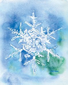 Snowflake Watercolor Painting Giclee Print 8 x 10 by SusanWindsor, $18.00