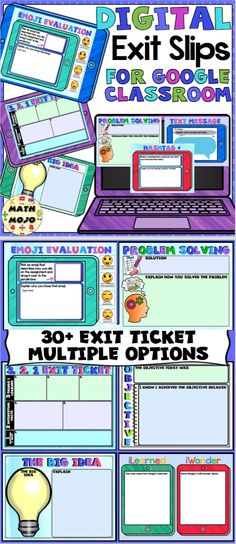 Digital Exit Slips for Google Classroom - Assessment has never been easier! This no prep pack of 30+ digital exit slips are perfect for digital assignments and paperless classrooms.