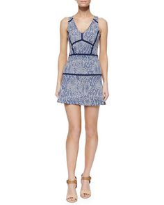 Yonkers Snake-Print Combo Dress, Cadet by Parker at Neiman Marcus.