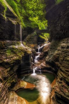 Rainbow Falls, Watkins Glen, New York.  Landscape and waterfall photography by Mark Papke.