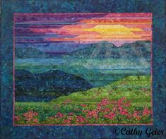 Blue Ridge Mountain Sunrise by Cathy Geier. Strip pieced landscape quilt from my book Lovely Landscape Quilts.