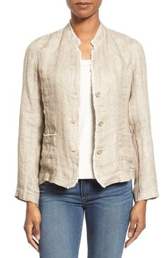 Free shipping and returns on Eileen Fisher Organic Linen Mandarin Collar Jacket (Regular & Petite) at Nordstrom.com. Frayed edges and patch pockets add laid-back ease to a fitted Mandarin-collar jacket fashioned from lightweight linen.