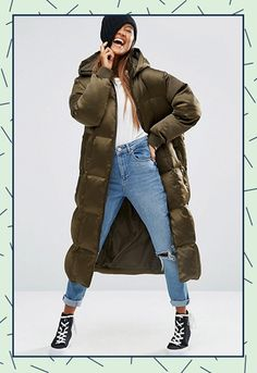 Duvet days Make like Kendall and Gigi and wear your oversized army green coat with super-skinny, black high-waisted jeans and fierce pointed ankle boots.