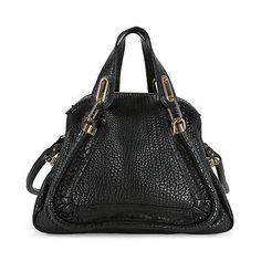 Chloe Paraty Medium Double Satchel Carry Bag - Black CHL-8HS891-977-001
