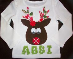 Rudolph the Red Nosed Reindeer Holiday Christmas shirt or onesie, Personalized with your Child's Name...Girl, Boy, Infant, Toddler