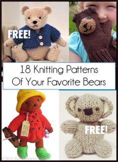 Favorite Bear Knitting Patterns including Teddy Bears, Paddington Bear, Koala Bear - many free patterns