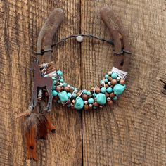 Foal/Colt Turquoise Beaded Horseshoe by WhiteFeatherJewelry