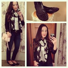 Black and White, Floral Scarf, Skinny Jeans, Rebecca Minkoff Mini Mac in Blush Pink, Spiked Flats, Black Blazer