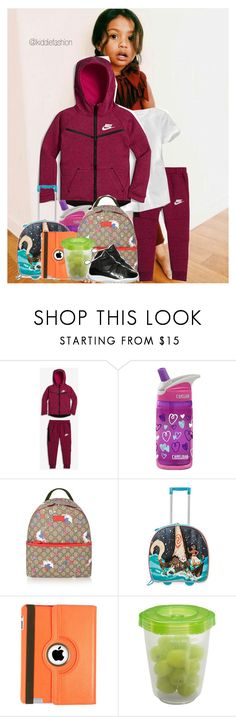 """""""Drue's #ootd Flying to Portland"""" by kiddiefashion ❤ liked on Polyvore featuring NIKE, CamelBak, Gucci, Natico and Gerber"""