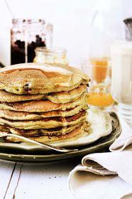 Pratos e Travessas: Panquecas integrais com arandos # Whole rye and wheat cranberry pancakes