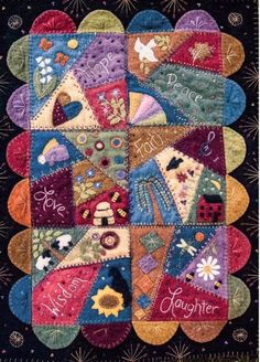 A crazy stitched wool wall hanging comprised of 6 inch squares. Finished size is 17 x 23 inches. Motifs Applique Laine, Wool Applique Patterns, Felt Applique, Applique Quilts, Block Patterns, Embroidery Patterns, Crazy Quilt Patterns, Crazy Quilt Stitches, Crazy Quilt Blocks