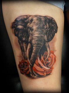 Elephant leg tattoo and roses