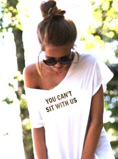 FREE SHIPPING- Hipster Off Shoulder Shirt, You Cant Sit With Us Shirt, Off Shoulder top, (women, teen girls). $31.95, via Etsy.