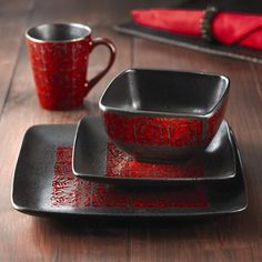 The Yardley Red 16 Piece Dinnerware Set includes service for four with matching dinner plates, salad plates, bowls, and mugs. All the dishes.