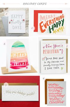 Seasonal Stationery: 2013 Holiday Cards, Part 1 | 1. Belle & Union; 2. Rocket Ink; 3. Emily McDowell Illustration; 4. Parrott Design Studio; 5. Duet Letterpress; 6. Yellow Owl Workshop | Click through for full links and resources!