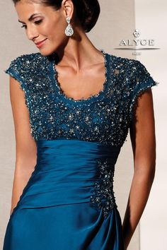 Elegant Satin Chiffon Evening Gown with Lace Cap Sleeve 29439 from SIMPLE ELEGANCE