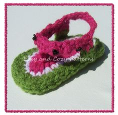 Watermelon flip flops Crochet Pattern - PDF file    Written in Standard American Terms.