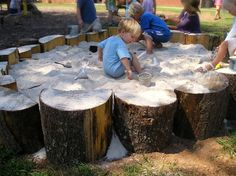 Every child has sand box love. Get back to nature and create one from logs, stumps, boulders...  Be sure to use silica-free sand, check the labels.  Then try the dollar stores for cups, containers, bowls, buckets, sand molds, shovels, funnels, anything that will move sand.