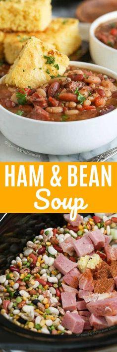 Ham and Bean Soup {Crockpot Version} - Spend With Pennies soup soup soup healthy recipes froide legumes minceur potimarron Crock Pot Soup, Slow Cooker Soup, Crock Pot Cooking, Beans In Crockpot, Crockpot Recipes, Cooking Recipes, Crockpot Lunch, Instant Pot, Sushi