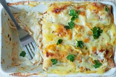 Our Skinny White Chicken Enchiladas are rich and creamy, but skips the high fat and calorie content of traditional creamy enchiladas!