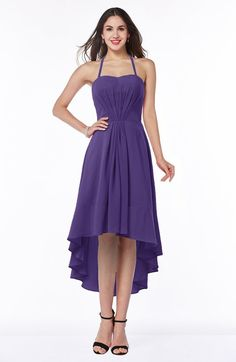 Casual A-line Halter Half Backless Asymmetric Ruching Plus Size Bridesmaid Dresses