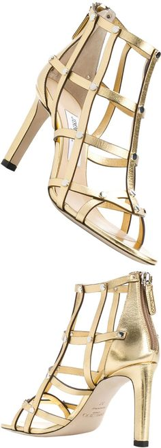Jimmy Choo Tina 85 metallic leather sandals Channel a luxurious Roman vibe in the Tina 85 sandals from Jimmy Choo with their gold metallic leather crafting. Silver studs add extra sparkle to this showstopping style. Wear yours with a little black dress for a glamorous look at your next evening event. #sandals #gold #jimmychoo #afflink #shoes #heels