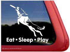 Eat Sleep Play – Border Collie Disc Dog Window Decal Sticker