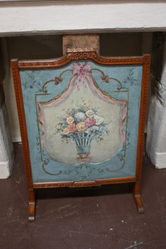 Here is a nice Antique French Painted Fire Screen circa 1800. Oil on canvas with carved wood frame