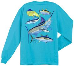 Guy Harvey Shirts - Guy Harvey Atlantic Big Game Collage Back-Print Men's Long Sleeve Tee in Aqua Blue or White, $24.00 (http://www.guyharveyshirts.com/guy-harvey-atlantic-big-game-collage-back-print-mens-long-sleeve-tee-in-aqua-blue-or-white/)