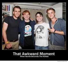 Neville Longbottom, Ron Weasley , Harry Potter and Draco Malfoy as they look today. Matthew Lewis, Rupert Grint, Daniel Radcliffe & Tom Felton all grown up! Note that Rupert is wearing a shirt from Dan's How to Succeed in Business performance. Matthew Lewis, Neville Longbottom, Memes Do Harry Potter, Harry Potter Love, Movies Quotes, Hp Quotes, Inspirational Quotes, Fandoms, Raining Men