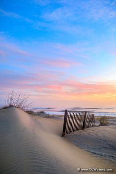 Sand dune and sand fence at sunrise on a Nags Head beach, Outer Banks NC. Nags Head Beach, Outer Banks Beach, Nc Beaches, Summertime Madness, North Carolina Vacations, Summer Painting, Sand Sculptures, Carolina Beach, Best Sunset