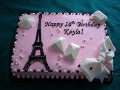 I just love this Paris cake! I want the same for my next birthday. Paris Birthday Cakes, Paris Themed Cakes, Birthday Sheet Cakes, Paris Birthday Parties, Paris Cakes, 16 Birthday Cake, Birthday Cakes For Women, Paris Party, Sweet 16 Birthday