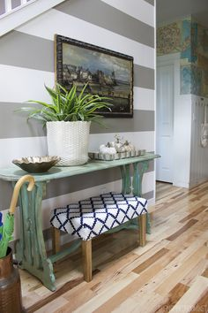 The Inspired Room Striped Entry Wall and DIY Map Wallpaper --paint entryway bench legs verdigris?