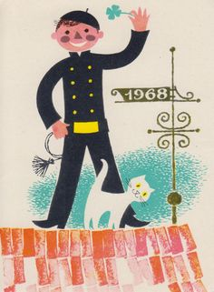 """kritseldis: """" Two New year postcards with chimney-sweeps. First one from 1960 by H.Mitt and the other one from1967 by L.Härm """""""