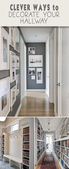 Have a lot of picture frames? Use them in your hallways!
