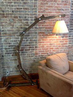 Rustic Wooden Cantilever Floor Lamp | etsy
